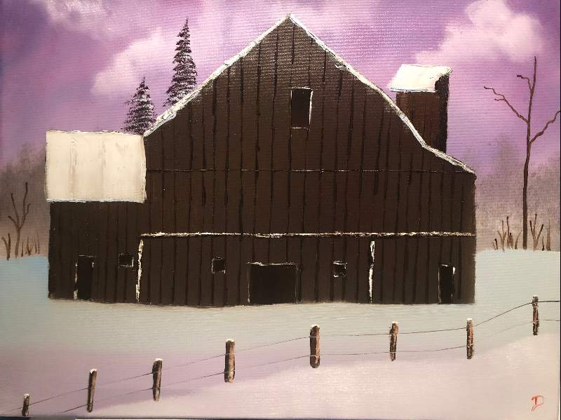 Barn in Snow Oval