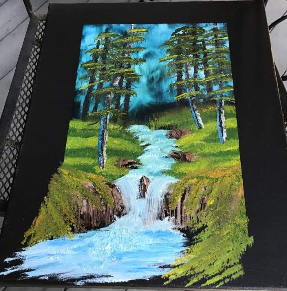 Bob Ross Evening Waterfall Painting - Best Waterfall