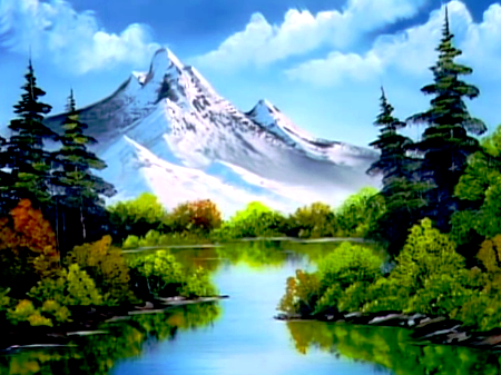 Image Of Painting Mountains With Paint Brush